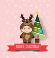 christmas cute kids vector image vector image