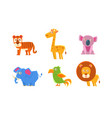 collection cute exotic animals tiger giraffe vector image