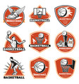 colored vintage basketball labels set vector image