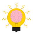 conceptual lightbulb icon with a brain vector image vector image