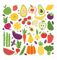 doodle flat fruits and vegetables hand drawn vector image vector image