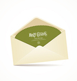 Envelope and green card merry christmas vector image vector image