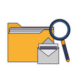 folder and envelope with magnifying glass vector image vector image