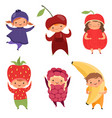 fruits costumes carnival clothes for children vector image