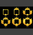 gold frame game rank square avatar template 6 vector image