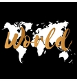 gold world map on black background doodle vector image vector image
