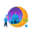 graphic muslims walking to mosque good vector image vector image
