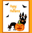 halloween card with cat ghost house pumpkin and vector image vector image