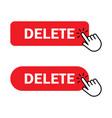 hand cursor clicks delete button vector image vector image