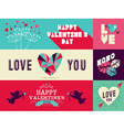 Happy Valentines Day web banner set vector image