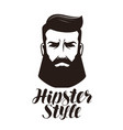 hipster style portrait bearded man logo or vector image vector image