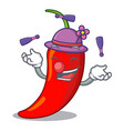 juggling red chili pepper isolated on mascot vector image vector image