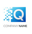 letter q logo symbol in the colorful square with vector image vector image
