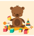 Little cute baby bear playing with toys vector image