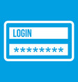 login and password icon white vector image vector image