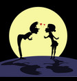 love couple rendezvous under the moon vector image