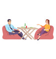man and woman at table flat coupe people vector image