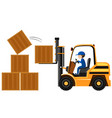 man lifting wooden boxes with forklift vector image vector image
