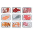 packages with fresh meat bacon sausages fish vector image
