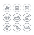 petroleum industry line icons vector image vector image