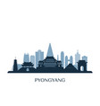 pyongyang skyline monochrome silhouette vector image