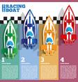 racing boats at finish line vector image vector image