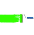 realistic paint roller painting a green line vector image vector image