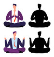 relax meditation cartoon businessmen two men vector image vector image