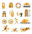 safety on water flat icons set for vector image vector image