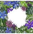 seamless pattern with blue and purple flowers vector image