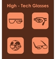 Set of high-tech glasses simple icons vector image
