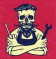 skull biker mechanic design vector image vector image
