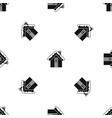 small snowy cottage pattern seamless black vector image vector image