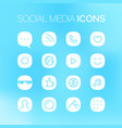 social media thin line linear icons on blurred vector image