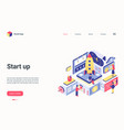 startup technology isometric landing page space vector image