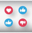 thumbs up and thumbs down heart signs set like vector image