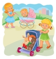 two girls ride buggies vector image vector image