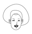 young woman laughing face pretty with closed eyes vector image vector image