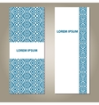 Set of ethnic blue and white banners vector image