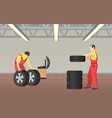 automobile service in garage vector image