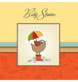 baby shower card with little bird stand in the vector image vector image
