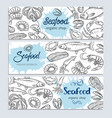banner template hand drawn seafood vector image vector image