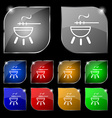 barbecue icon sign Set of ten colorful buttons vector image