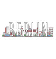 berlin travel lettering in linear style vector image