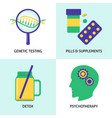 biohacking concept icons set in flat style vector image vector image