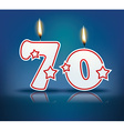 Birthday candle number 70 vector image vector image