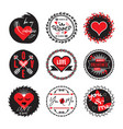 black and red circle cute love and heart emblems vector image