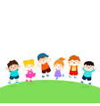 blank template happy school multiracial children vector image vector image