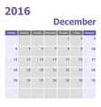 Calendar December 2016 week starts from Sunday vector image vector image