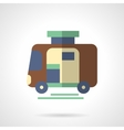 Camping trailer flat color design icon vector image